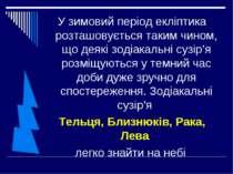У зимовий період екліптика розташовується таким чином, що деякі зодіакальні с...