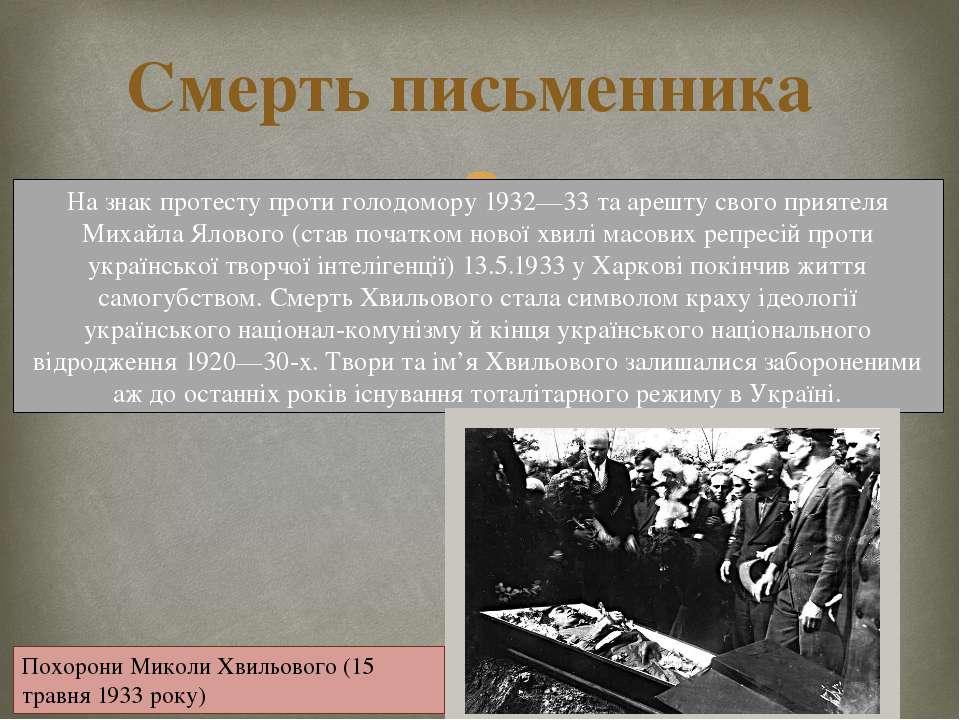 Смерть письменника На знак протесту проти голодомору 1932—33 та арешту свого ...