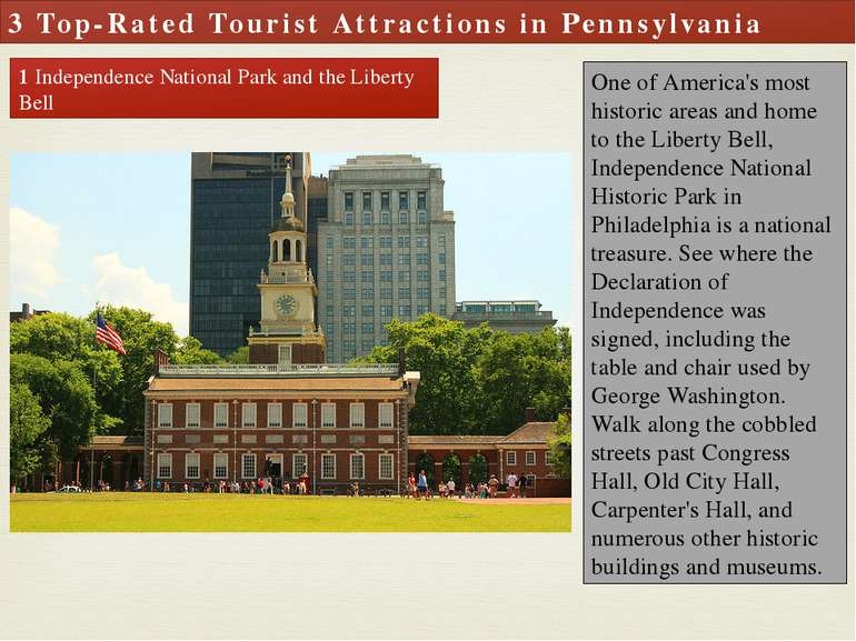 3 Top-Rated Tourist Attractions in Pennsylvania 1 Independence National Park ...