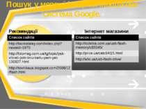 Пошук у мережі інтернет\пошукова система Google. Рекомендації Інтернет магази...