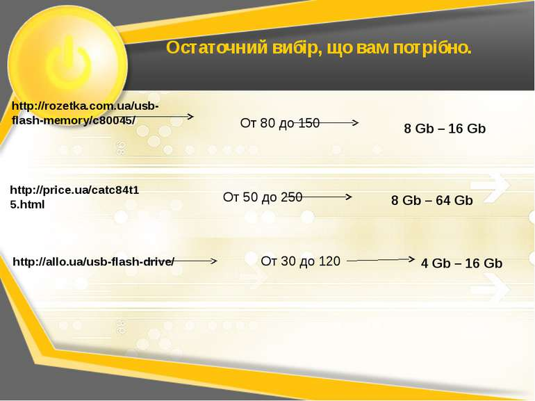Остаточний вибір, що вам потрібно. http://rozetka.com.ua/usb-flash-memory/c80...