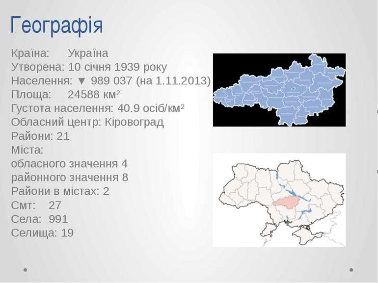 Географія Країна: Україна Утворена: 10 січня 1939 року Населення: ▼ 989 037 (...