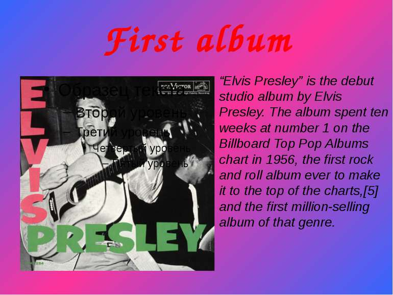 "First album ""Elvis Presley"" is the debut studio album by Elvis Presley. The a..."