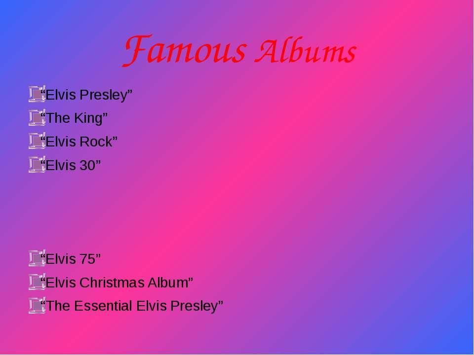 """Famous Albums """"Elvis Presley"""" """"The King"""" """"Elvis Rock"""" """"Elvis 30"""" """"Elvis 75"""" """"..."""