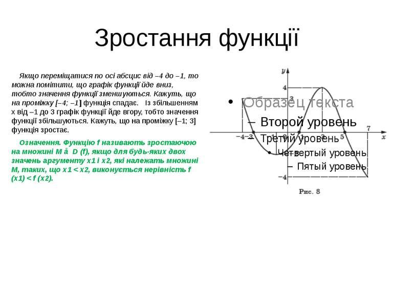 Зростання функції Якщо переміщатися по осі абсцис від –4 до –1, то можна помі...