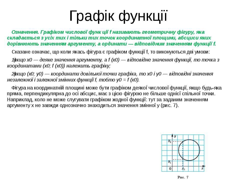 Графік функції Означення. Графіком числової функ ції f називають геометричну ...