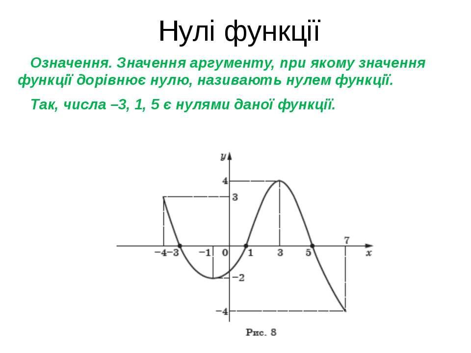 Нулі функції Означення. Значення аргументу, при якому значення функції дорівн...