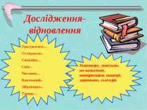 Дослідження-відновлення Просуватися… Оглядаючи.. Спокійно… Спів.. Читання… Ви...