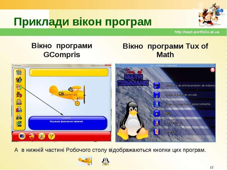 Приклади вікон програм Вікно програми GCompris Вікно програми Tux of Math * h...