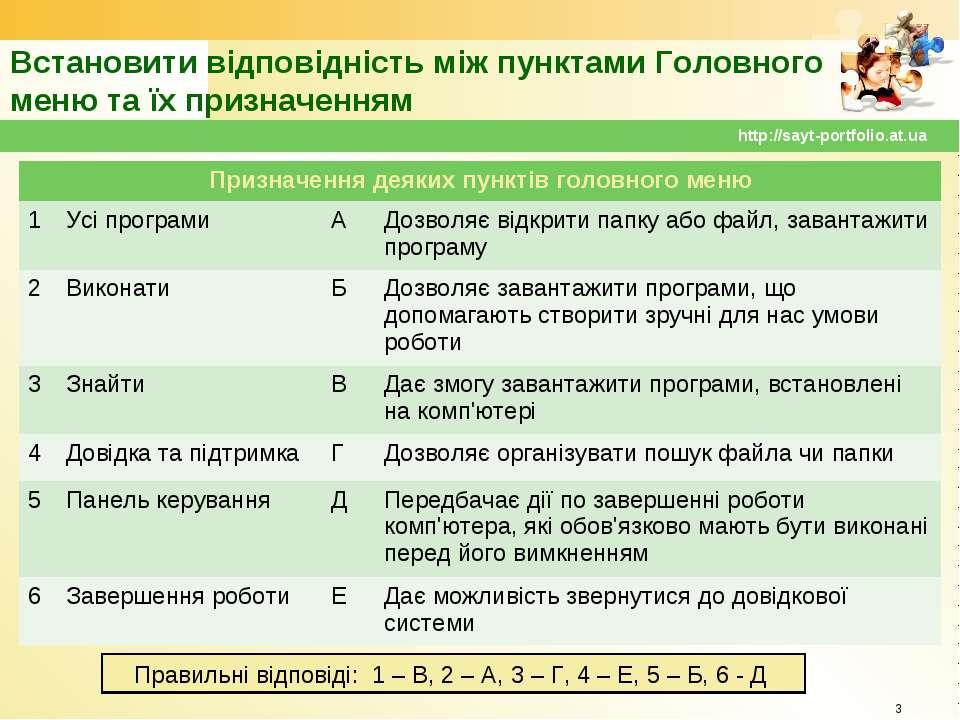 Встановити відповідність між пунктами Головного меню та їх призначенням * htt...
