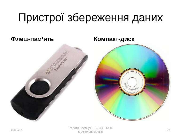 Пристрої збереження даних Флеш-пам'ять Компакт-диск * Робота Кравчук Г.Т., СЗ...