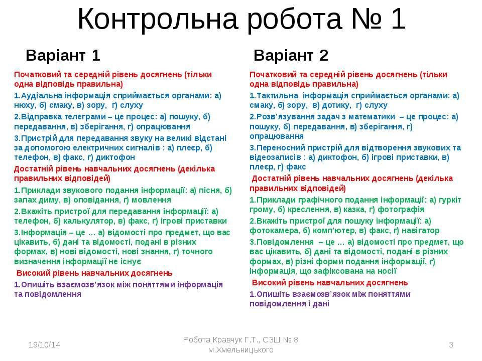 Контрольна робота № 1 Варіант 1 Початковий та середній рівень досягнень (тіль...