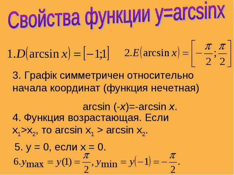3. Графік симметричен относительно начала координат (функция нечетная) arcsin...