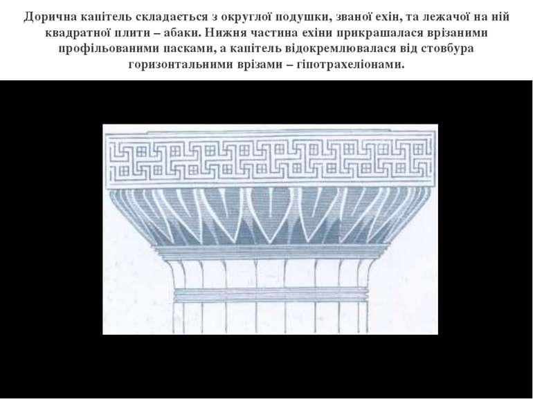 Дорична капітель складається з округлої подушки, званої ехін, та лежачої на н...