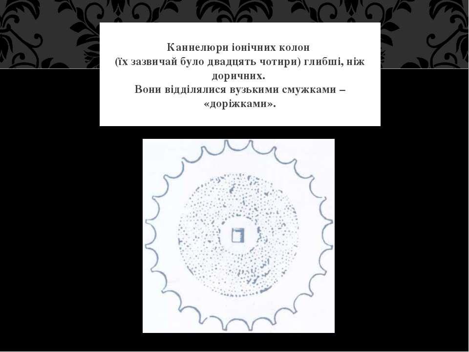 Каннелюри іонічних колон (їх зазвичай було двадцять чотири) глибші, ніж дорич...