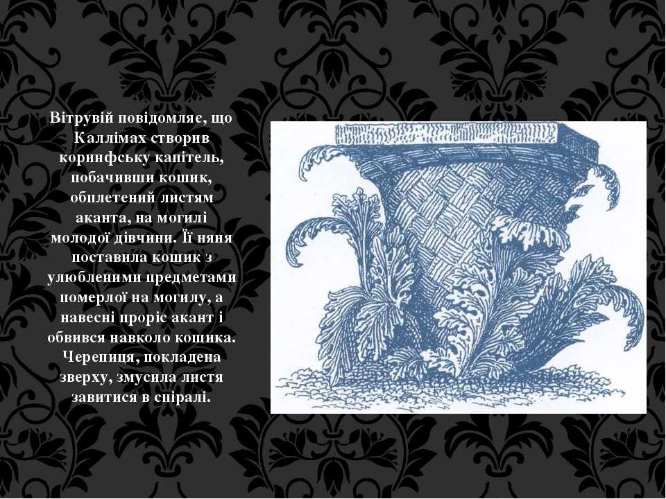 Вітрувій повідомляє, що Каллімах створив коринфську капітель, побачивши кошик...