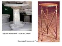 Круглый мраморный столикиз Помпей Бронзовый треножник. Рим