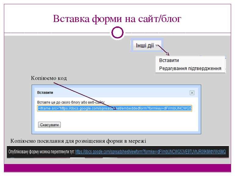 Вставка форми на сайт/блог Копіюємо код Копіюємо посилання для розміщення фор...