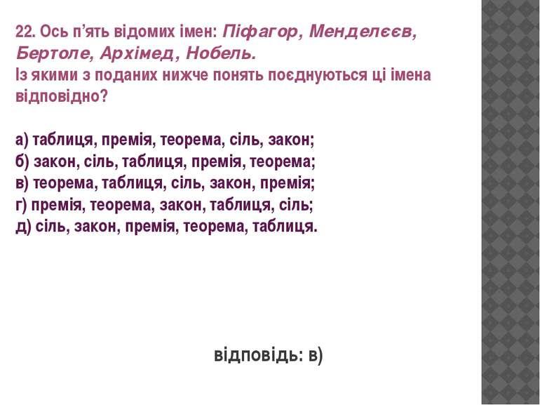 22. Ось п'ять відомих імен: Піфагор, Менделєєв, Бертоле, Архімед, Нобель. Із ...
