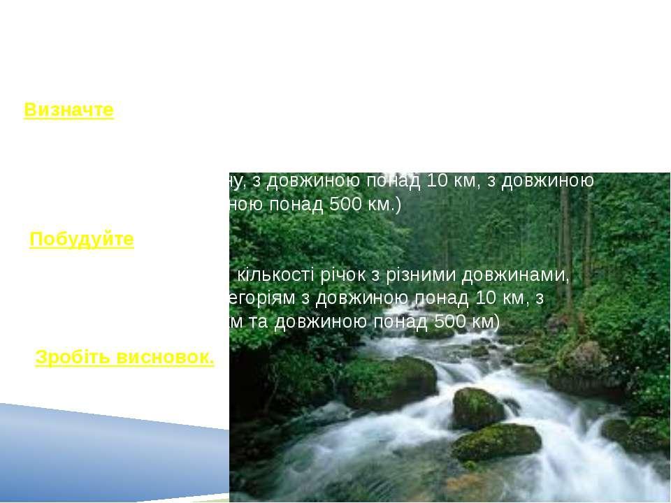 Завдання Визначте густоту річкової сітки України, кількість річок (загальну, ...
