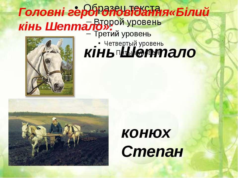 Головні герої оповідання«Білий кінь Шептало»: кінь Шептало конюх Степан