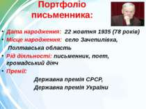 Портфоліо письменника: Дата народження: 22 жовтня 1935 (78 років) Місце народ...