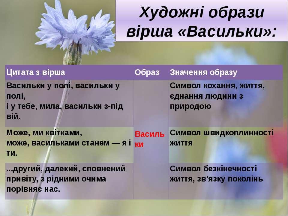 Художні образи вірша «Васильки»:  Цитата з вірша Образ Значення образу Васил...