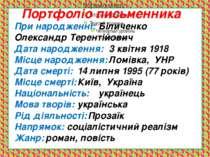 При народженні: Біличенко Олександр Терентійович Дата народження: 3 квітня 19...