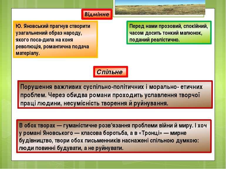 Ю. Яновський прагнув створити узагальнений образ народу, якого поса-дила на к...