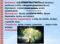 Епітети: буремний лет; високий вогонь; людські сліди; смертні хлані;людські д...