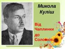 Микола Куліш Від Чаплинки до Соловків…