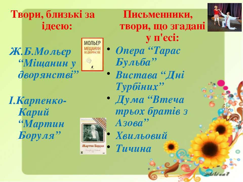 """Твори, близькі за ідеєю: Ж.Б.Мольєр """"Міщанин у дворянстві"""" І.Карпенко-Карий """"..."""