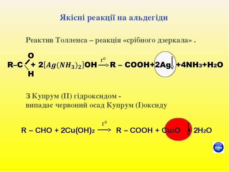 Якісні реакції на альдегіди Реактив Толленса – реакція «срібного дзеркала» . ...