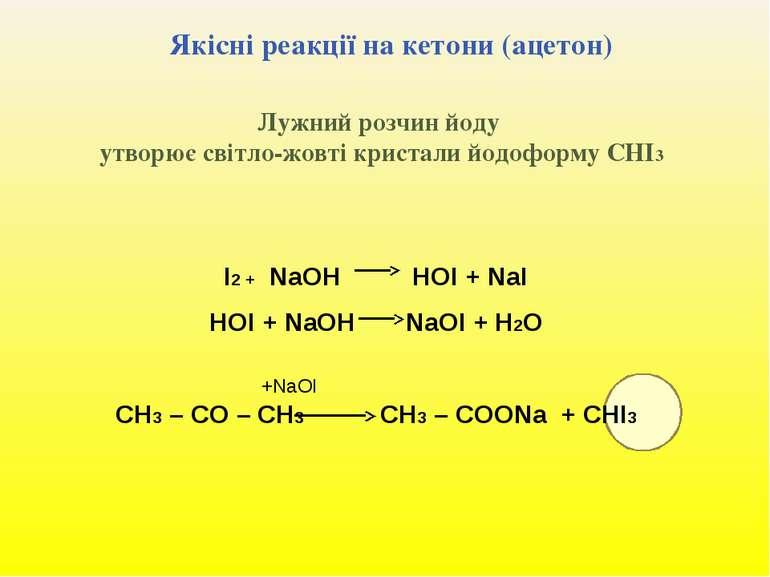 Якісні реакції на кетони (ацетон) Лужний розчин йоду утворює світло-жовті кри...