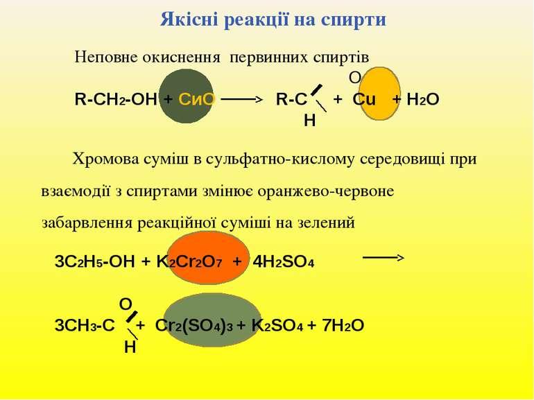 Якісні реакції на спирти Неповне окиснення первинних спиртів O R-СН2-ОН + СиО...