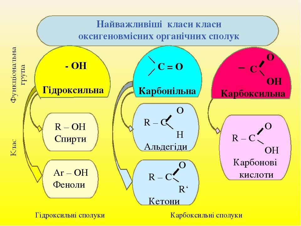 Найважливіші класи класи оксигеновмісних органічних сполук - ОН Гідроксильна ...