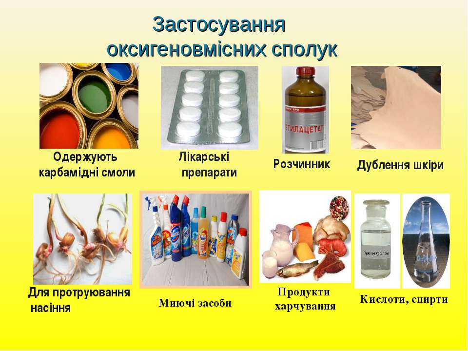 Застосування оксигеновмісних сполук Одержують карбамідні смоли Лікарські преп...