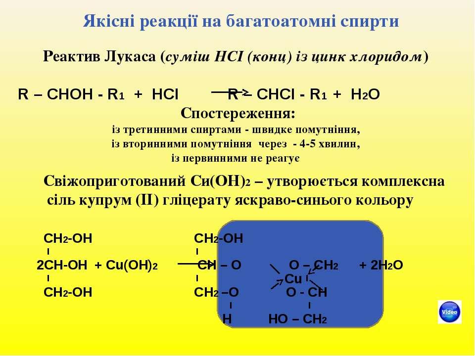 Якісні реакції на багатоатомні спирти Реактив Лукаса (суміш НСІ (конц) із цин...