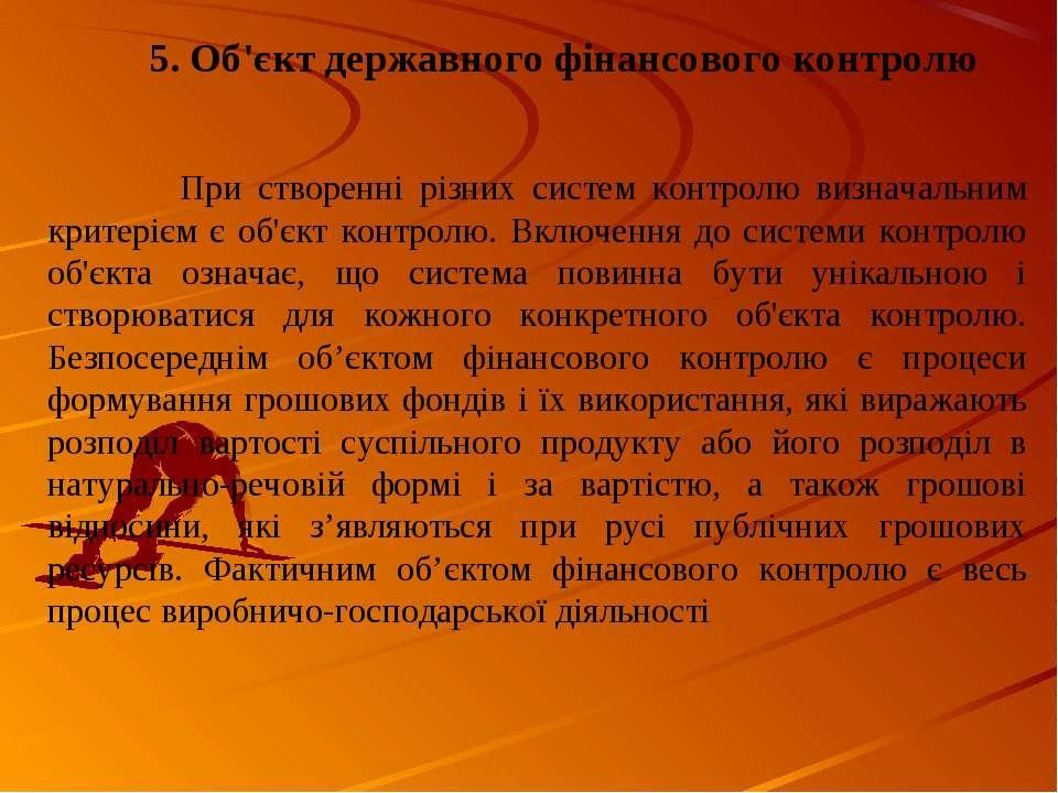 5. Об'єкт державного фінансового контролю При створенні різних систем контрол...