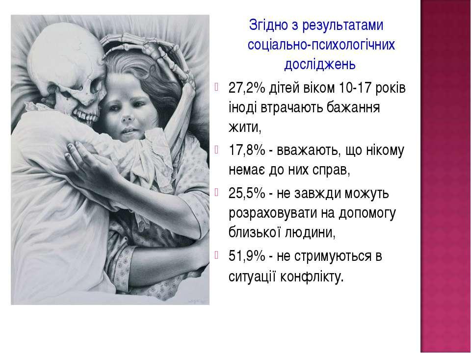 Згідно з результатами соціально-психологічних досліджень 27,2% дітей віком 10...