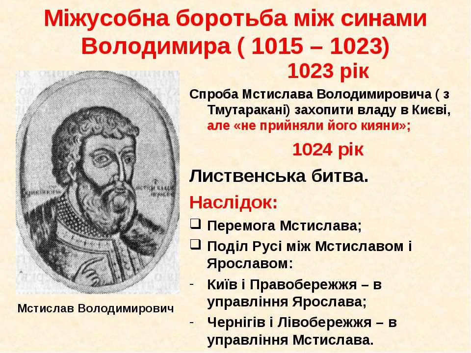 1023 рік Спроба Мстислава Володимировича ( з Тмутаракані) захопити владу в Ки...