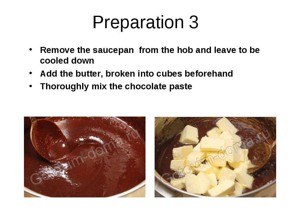 Preparation 3 Remove the saucepan from the hob and leave to be cooled down Ad...
