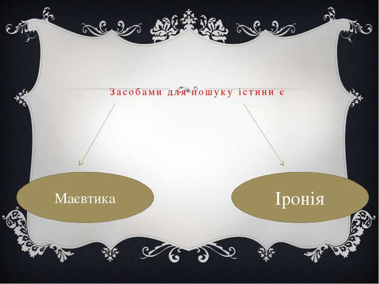 Засобами для пошуку істини є Маєвтика Іронія
