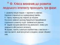 Ф. Клікса визначив,що розвиток людського інтелекту проходить три фази: I - ро...