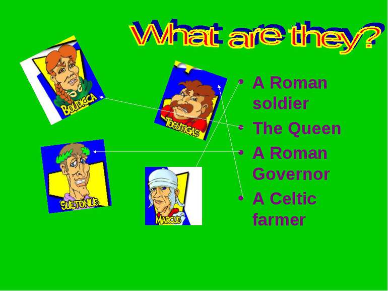 A Roman soldier The Queen A Roman Governor A Celtic farmer