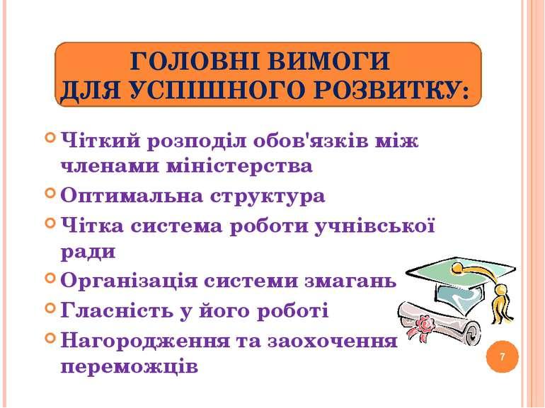 ГОЛОВНІ ВИМОГИ ДЛЯ УСПІШНОГО РОЗВИТКУ: Чіткий розподіл обов'язків між членами...