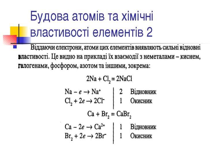 Будова атомів та хімічні властивості елементів 2