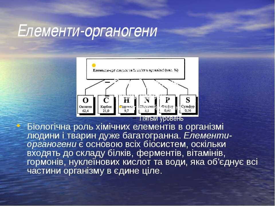Елементи-органогени Біологічна роль хімічних елементів в організмі людини і т...