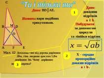 Мал. 12 A B C D E M O F Дано: BD║AE. Назвати пари подібних трикутников. Дано:...