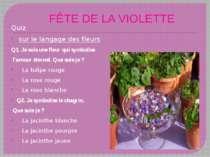FÊTE DE LA VIOLETTE Quiz sur le langage des fleurs Q1. Je suis une fleur qui ...